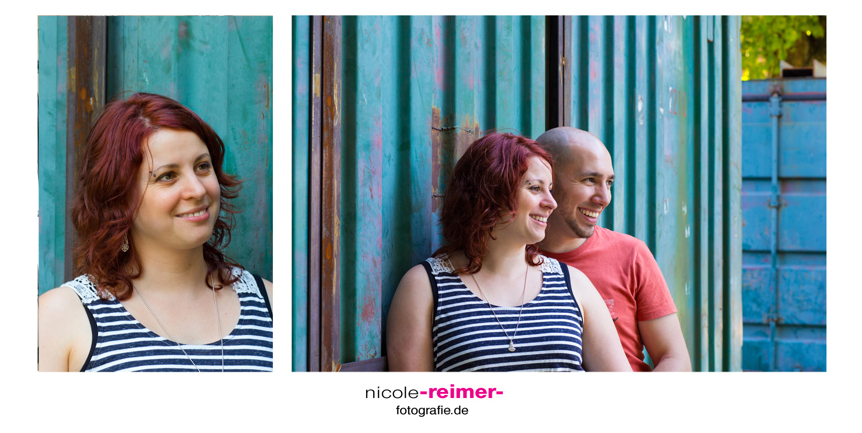 Couple Shoot in front of shipping container